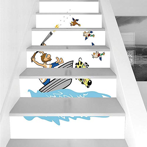 Stair Stickers Wall Stickers,6 PCS Self-adhesive,Hunting Decor,Boating Aged Man Shooting Wild Ducks and Funny Dog Falling Into Water Cartoon Decorative,Multicolor,Stair Riser Decal for Living Room, Ha -