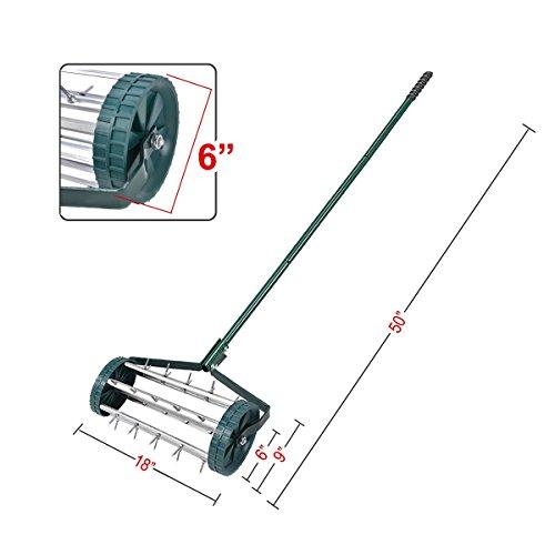 Goplus 18-Inch Rolling Lawn Aerator Garden Yard Rotary Push Tine Spike Soil Aeration Heavy Duty