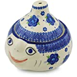 Polish Pottery Garlic and Onion Jar 9-inch Bleu-belle Fleur