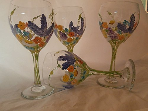 Hand Painted Goblet - Hand painted wild flower 20 ounce goblets, Usa, set/4. 20 ounce
