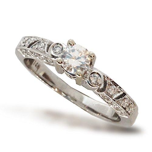 .30 CTW DIAMOND SEMI MOUNT ENGAGEMENT RING FILIGREE MILGRAIN ANTIQUE STYLE WITH CZ CENTER 14K WHITE - Semi Mount Antique Round Diamond