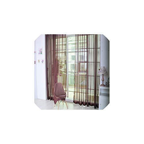 Sweetest-Thing 1PCS Window Blinds Tulle Door Window Curtain Drape Panel Sheer Scarf Valances Blinds Shades Shutters Window,Brown,China,200 100