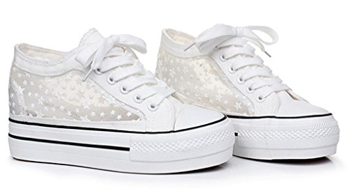 Women White High Top Canvas Shoes Breathable Hollow Out Star Print Lace Up Sneakers Hight Increasing 8.5 M US
