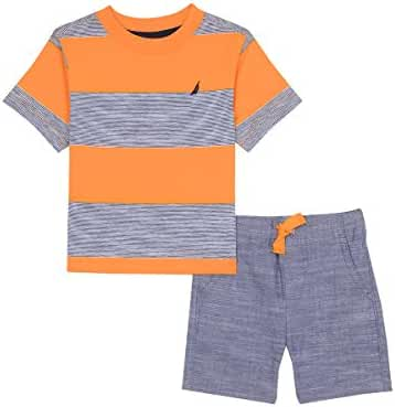 Nautica Baby Boys' Two Piece Set with Crew Neck Graphic Tee and Pull on Short
