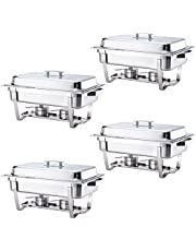 ALPHA LIVING 70014-GRAY 4 Pack 8QT Chafing Dish High Grade Stainless Steel Chafer Complete Set, 8 QT, Alpine Gray Handle
