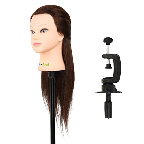 """Price comparison product image CoastaCloud 22"""" Mannequin Head with 95% Human Hair Cosmetology Manikin Doll Head Beauty Hairdresser Training Head - Jennie"""