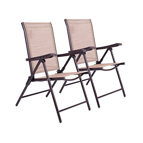 APEX LIVING Set of 2 Textile Recliner Outdoor Patio Furniture Chairs with 5-Position Adjustment Garden Deck Pool Beach