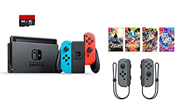 Nintendo Switch 7 items Bundle:Nintendo Switch 32GB Console Red and Blue,64GB Micro SD Card and Nintendo Controllers Gray,4 Game Disc1-2-Switch Just Dance2017 The Legend of Zelda Super Bomberman R