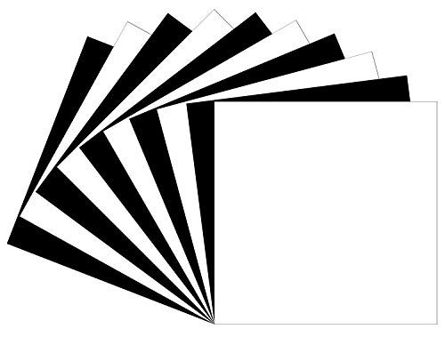 (10 Matte Black & White Oracal 631 Vinyl Sheets, Removable Adhesive Backed Vinyl Sheets, Craft Vinyl Sheets for Indoor/Outdoor Marking, Lettering, Decorating, Wall Décor, Window Graphics For Any Cutter)