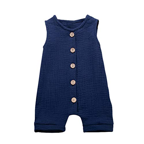 Jianekolaa_Babycostume Newborn Baby Boys Girls Romper Jumpsuit Cotton Linen Sleeveless Bodysuit Infant Button Clothes Outfits Blue