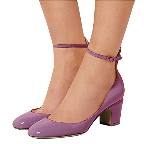 Purple Mid Heel - FSJ Women Retro Ankle Strap Mid Heels Dress Pumps Almond Toe Patent Leather Shoes Size 9 Light Purple
