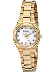 Bulova Womens 97P109 Diamond Gallery Analog Display Japanese Quartz Yellow Watch
