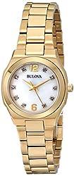Bulova Women's 97P109 Diamond Gallery Analog Display Japanese Quartz Yellow Watch