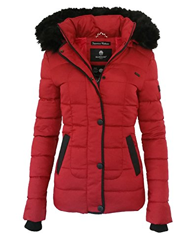 Marikoo UNIQUE Damen Winter Jacke Steppjacke Mantel Mit Kapuze XS XL 3  Farben Rot WlfHpXSgWr