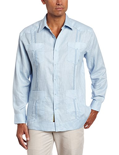 - Cubavera Men's Long Sleeve 100% Linen Guayabera, Cashmere Blue, X-Large