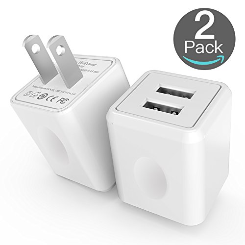 Wall Charger, [2-Pack] 2.4Amp Taymanso 2-Port USB Wall Charger Home Travel Plug Power Adapter For iPhone X 8/7/6 Plus SE/5S/4S,iPad, iPod,, Samsung Galaxy S7 S6, HTC, LG, Table, Motorola And (Ipod Power Pack)