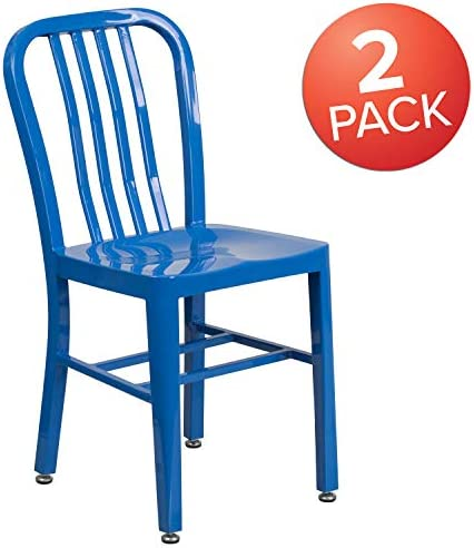 patio, lawn, garden, patio furniture, accessories, patio seating, chairs,  patio dining chairs 1 image Flash Furniture 2 Pack Blue Metal Indoor-Outdoor deals