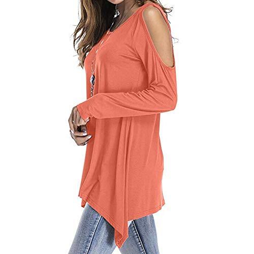 Tops Blouse Uni Sexy Tunique paules Bringbring Shirt T Femme Couleur Orange Dnudes Asymetrique Chemise Prz1pPvRH