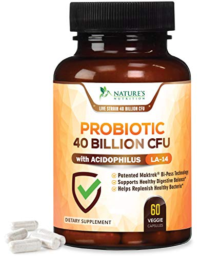 Probiotic Supplement 40 Billion CFU for Digestive Health - Extra Strength Probiotic with Prebiotics & Acidophilus, 15x More Effective Patented Delay Release for Women & Men - 60 Capsules