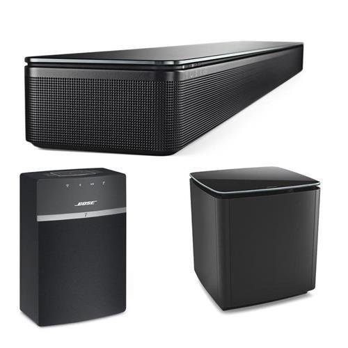 Bose SoundTouch 300 Soundbar, Black - Bundle With Bose Acoustimass 300 Wireless Bass Module Black, Bose SoundTouch 10 Wireless Music System Black by Bose
