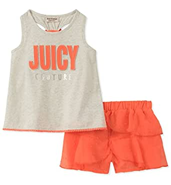 Juicy Couture Toddler Girls' 2 Pieces Shorts Set, Gray/Coral, 2T