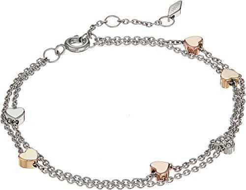 Bracelet Stainless Womens Steel Fossil (Fossil Women's Heart Tri-Tone Stainless Steel Double-Chain Bracelet)