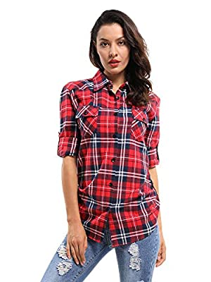 Women's Mid-Long Roll Up Long Sleeve Plaid Flannel Shirt