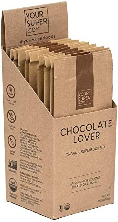Your Super Chocolate Lover Travel Packs – Plant Based Mood Enhancement Powder, Reduce Sugar Cravings, Essential Vitamins, Antioxidants, Non-GMO, Organic Cacao, Chia Seeds – 10 Serving Packets
