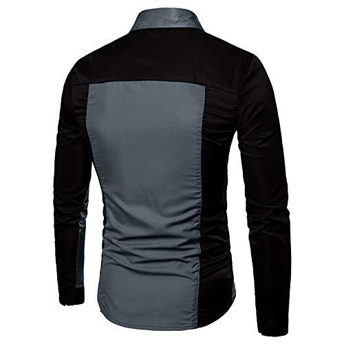 Camicetta Tops Da Per Lunghe Moda Blu Uomo Superiore shirt T Polo Sottile Con Elecenty Colore Maniche wOpHUH