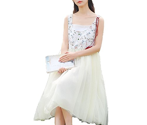 Small-shop Literary Clean net Yarn with Cotton and Linen Floral Dress,Color,L