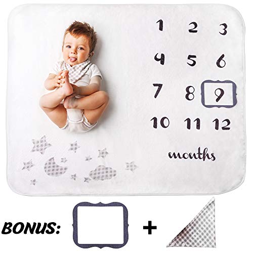 Baby Monthly Milestone Blanket by Nitros - 1 to 12 Months for Boys or Girls - Adorable Bib & Frame Included - Perfect Gift for Baby Showers & Expecting Mother's - 100 x 120 cm Size ()