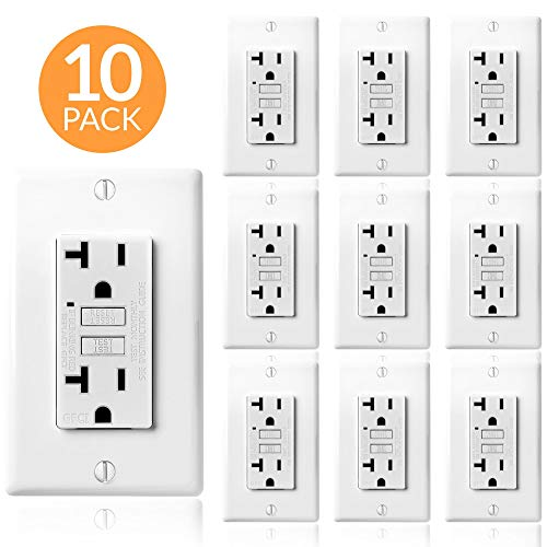 Faith Electric 20A GFCI Outlets Slim, Non-Tamper-Resistant GFI Duplex Receptacles with LED Indicator, Self-Test Ground Fault Circuit Interrupter with Wall Plate, ETL Listed, 10 Pack, White, 10 Piece