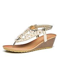 Viihahn Women's Wedge Sandals Summer Fashion Bohemia Medium Heel Thong Beaded Slingback Platform Shoes