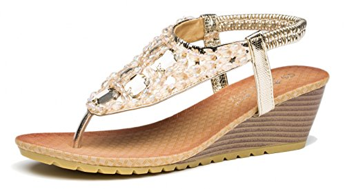 Wedge Heel Slingback Sandals - Viihahn Women's Wedge Sandals Summer Fashion Bohemia Medium Heel Thong Beaded Slingback Platform Shoes Size 8 US Gold