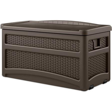 Suncast DBW7500 Weather Resistant Wicker Storage Deck Box, Features Handles and Wheels, 73-Gallon by Suncast