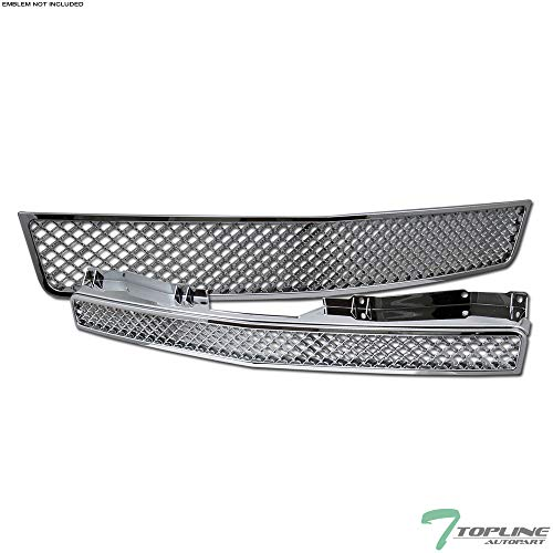Topline Autopart Chrome Mesh Front Hood Bumper Grill Grille ABS 2 Pieces Design For 07-13 Chevy Avalanche ; 07-14 Tahoe/Suburban