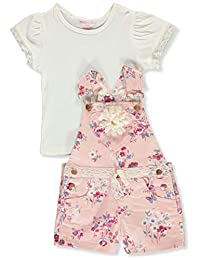 Colette Lilly Girls' Flowers and Lace 2-Piece Shortalls Set Outfit