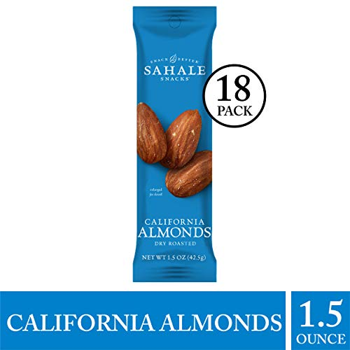 - Sahale Snacks California Dry-Roasted Almonds, 1.5 oz., Pack of 18 - Nut Snacks in a Grab 'n Go Pouch, No Artificial Flavors, Preservatives or Colors, Gluten-Free Snacks