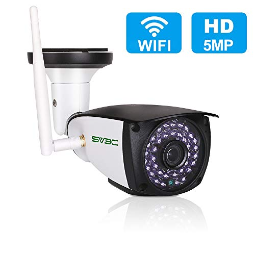 5MP Outdoor Security Camera, SV3C WiFi Wireless 5 Megapixels HD Night Vision Surveillance Cameras, 2-Way Audio IP Camera, Motion Detection CCTV, Weatherproof Outside Camera Support Max 128GB SD Card (Best Outdoor Ip Security Cameras 2019)