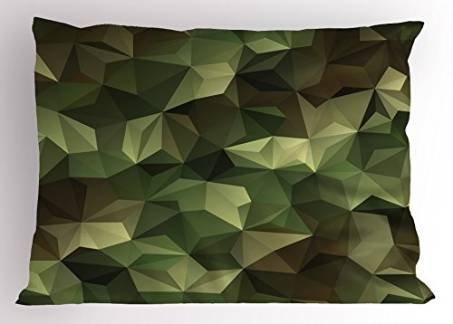 (Ambesonne Sage Pillow Sham, Geometric Fractal Shapes Triangles Camouflage Inspired Form with Poly Effect, Decorative Standard King Size Printed Pillowcase, 36 X 20 inches, Brown and Green)