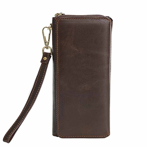 Leather Men's Vintage Casual Clutch Wallet CoffeeColor Leather Business Men's Black x6nEE