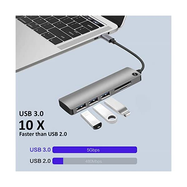Xmate 5 in 1 Type-C USB Adapter, 3 USB 3.0 Port, 1 Standard SD Card Slot, 1 Micro SD Card Slot, 5Gbps Data Transfer Rate, Compatible Type C Hub for MacBook Pro/Air, Other Type C Devices (Gray)