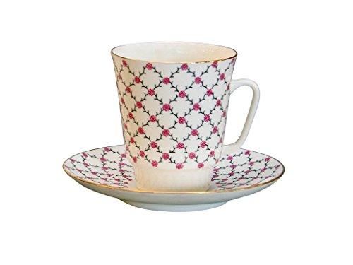 Lomonosov Bone China Porcelain May Coffee Set Pink Net 2pc 5.6 fl.oz/165 ml