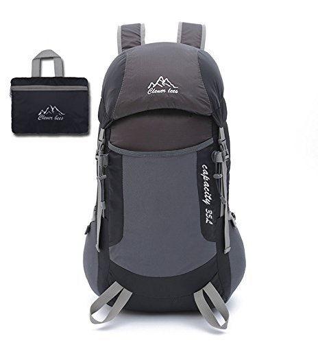Lightweight Packable Durable Travel Hiking Backpack Daypack (Gray&Black)