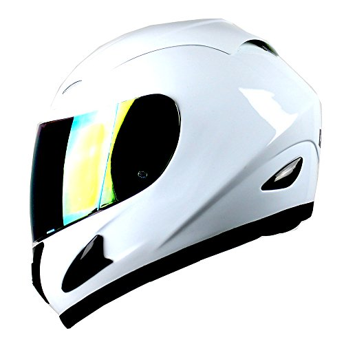 Face White Helmet (WOW Motorcycle Full Face Helmet Street Bike Glossy White)