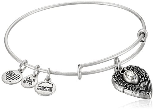 "Alex and Ani ""Path of Symbols"" Guardian Angel Expandable Wire Silver Bangle Charm Bracelet"