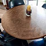 Table Cloth Round 36' to 48' Elastic Edge Fitted Vinyl Table Cover Cherry Wood Pattern Brown Tan