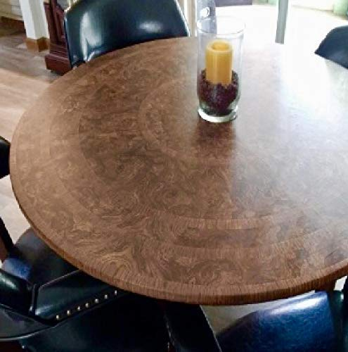 Table Cloth Round Elastic Edge Fitted Vinyl Table Cover - Fits Round Tables 36 Inch To 48 Inches - Cherry Wood Pattern Brown Tan ()