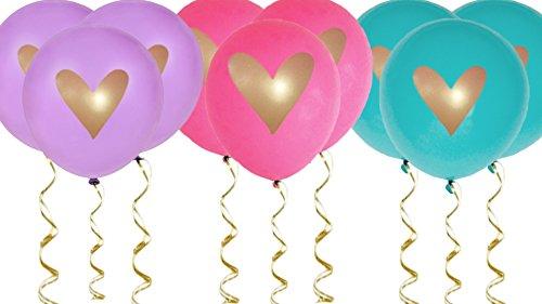 Hot Pink Teal Purple Gold Heart Balloons Love