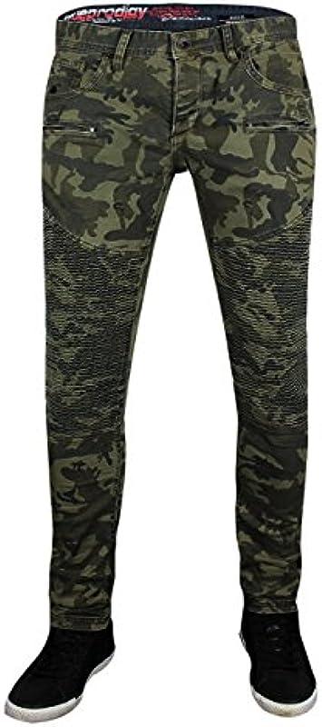 trueprodigy Casual męskie markowe dżinsy ze stretchem modne stylowe denim vintage destroyed Slim Fit dżinsy męskie, kolor: khaki , rozmiar: 36W / 32L: Odzież